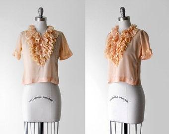 30's chiffon blouse. 1930's ruffled blouse. m. pink orange top. sheer. button. 1930 peach blouse.