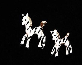 Zebra Horse Scatter Pins - Vintage Brooch Set - White and Black Striped Enamel