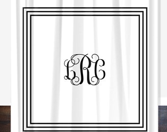 Classic Personalized Shower Curtain, Monogrammed Personalized Shower Curtain, Custom Shower Curtain, Wedding Gift, Housewarming Gift