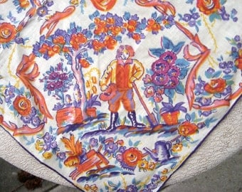 Vintage Hanky / Pastoral Hanky / Farmer in Garden Birds Flowers Purple and Gold / Gardener Lover / Collectible Hanky Fall Colors