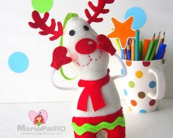 Felt Reindeer Ornament, Christmas Ornament Pattern, Baby Reindeer Pattern Instant Download A1175