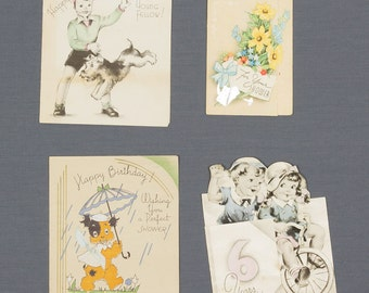 Greeting cards Ephemera 1930s - 1940s Four vintage greeting cards 3 Happy Birthdays and a shower card