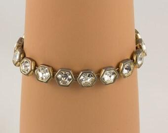 Crystal Bracelet Gold six sided bezels hold 16 large Rhinestone crystals, very beautiful.