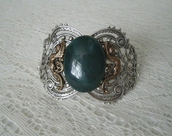 Moss Agate Bracelet, medieval jewelry renaissance jewelry victorian jewelry art nouveau edwardian art deco neo victorian gothic viking norse