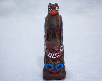 Vintage Small Resin Totem Pole Made in Alaska Indian Art Hand Painted