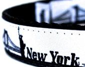Sample Sale, New York City Dog Collar, NYC Skyline Pet Collar, Big Apple Collar, Size Medium Available, Ready to Ship