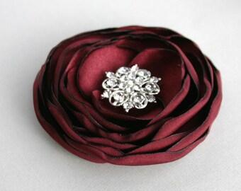 Burgundy Flower Hair Clip, Dark Red Floral Hair Piece, Burgundy Flower Hair Piece, Bridesmaid Accessory, Flower Headpiece, Floral Hairpiece
