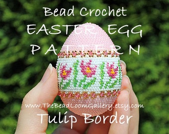 Easter Egg Pattern - Tulip Border - Crochet PDF File TUTORIAL - Vol.12 with Swarovski Crystals