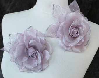 Cute organza  flower pin 2  piece listing 4 1/2 inches in diameter