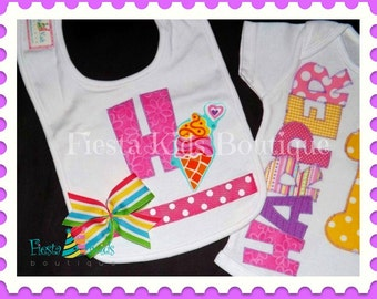 SAMPLE SALE - 1st birthday girl onesie, cake smash outfit with HARPER name, bib with initial, 12M girl onesie, ready to ship, 1 available