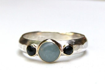 Aquamarine ring, Engagement Ring, 14k gold and silver ring, Aquamarine and black Onyx ring, Size 7