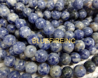 8 inch Large Hole Blue Sodolite Beads Smooth 10mm round with 2mm Drilled hole