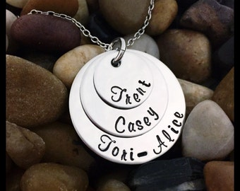 Triple Stacked Family necklace.... Hand Stamped Stainless Steel Necklace...Personalized - Mothers Day