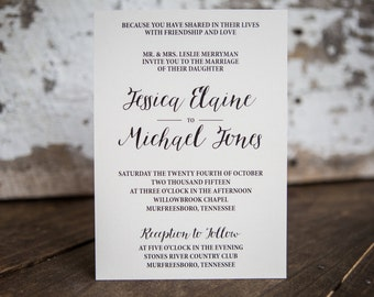 Calligraphy Wedding Invitation, Formal Invitation - Classic Wedding Suite : A7 Wedding Invitations