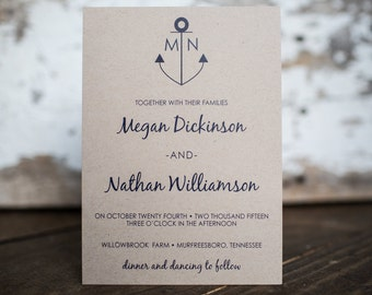 Anchor Wedding Invitation, Kraft Invitation, Nautical Wedding Invitation, Anchor Invitation - Anchor Wedding Suite : A7 Wedding Suite