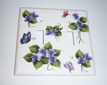 Purple Violets Double Light Switch Cover - Swarovski Crystals