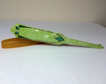 Vintage Antique Nail Buffer Art Deco Emerald Green Vanity Accessory