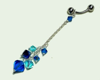 Intimate Body Jewelry, VCH Piercing,  Pierced VCH, non piercing Clit Clamp, Peacock Blues
