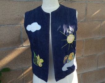 60s Vintage Hippie Denim Vest Dotti Didit Applique Hippy Flower Child Boho Jean Vest Women Medium Large