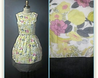 Vintage 1960s Party Dress - White Yellow and Grey Floral Print