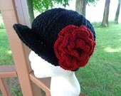Newsboy Cap in Black with Detachable Flower in Red