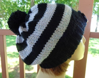Knitted Slightly Slouchy Beanie in Black and Gray Shimmer Yarn  with Pompom
