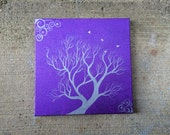 Flock - Original Small Abstract Fine Art Landscape Bird Silver Purple Violet 12x12 By Elizabeth Pfleeger
