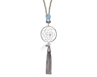Dream catcher necklace - long beaded necklace with air blue accents and crystal quartz pendant - gemstone pendant - boho tassel necklace