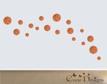 Basketball 18 Set, Fabric wall decals, Removable, reusable and repositionable fabric decal