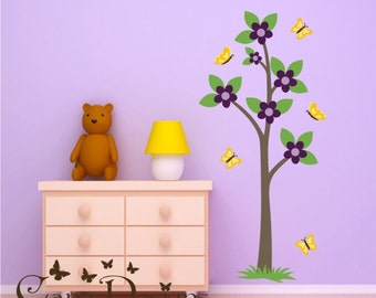 Tree with butterflies Reusable Fabric decal,  Removable, reusable and repositionable fabric decal