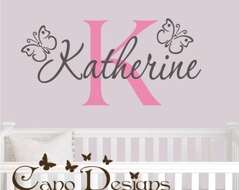 Personalized Monogram Name With butterflies, Custom Vinyl wall decals stickers, nursery, kids & teens room, removable decals stickers