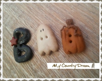 Boo - Handmade buttons - set of 3 pcs.