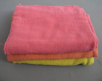 set of 3 cotton cleaning napkins / pink, rose and yellow kitchen accessories / housewarming present / made in Brazil