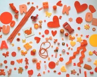 125+ Assorted Orange Inspiration Kit for Altered Art - Collage - Assemblage - Mixed Media - Crazy Quilt Art - Scrapbook