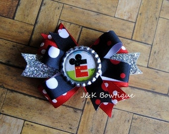 Mickey Mouse inital bow...double layer bow