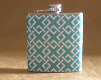 Ready to Ship Gift Blue and White Greek KeyPrint 6 ounce Stainless Steel bridesmaids Gift Flask KR2D 7626