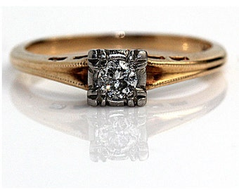 Dainty Ring Minimilist Delicate Ring Promise Ring  Mid-Century .20ctw Old European  Cut Diamond Engagement Ring in 14k 1940's Two Tone Gold!
