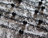 4mm Black Bead Chain - Jet Black Beaded Chain - Qty 42 inch strand (106cm)
