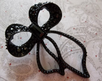 Black Bow Pendant with Black Glass Rhinestones & Long Ribbon Ends - Qty1
