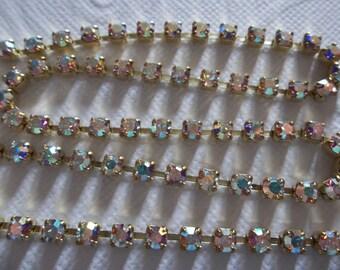 Rhinestone Chain Clear AB Czech Crystal 3mm 24PP in Brass Setting - Qty 1 yard