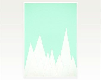 Modern Geometric Art, Minimalist Landscape Print in Mint and White - Winter Landscape