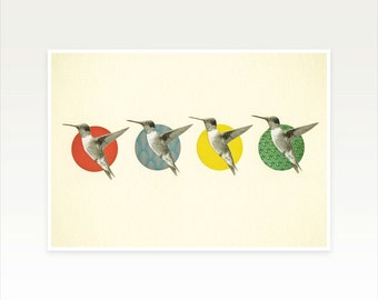 Whimsical Bird Art Print - The Hummingbird Dance