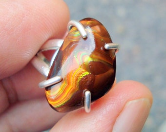 fire agate ring   fire agate jewelry  sterling silver ring