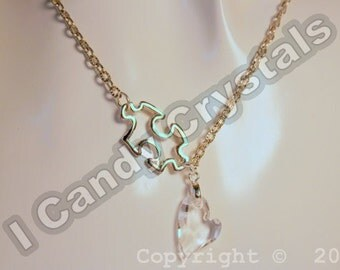 Autism Awareness Puzzle and Crystal Heart Necklace