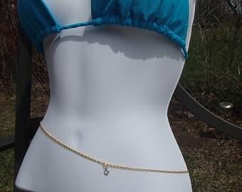 Gold Swarvoski Crystal Belly Chain