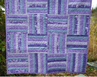 Lap Quilt Wall Hanging Tapestry Baby Crib Patchwork Quilted Fabric Lined Cotton Purples Blue Pink Country Picnic Decor Cover Blanket