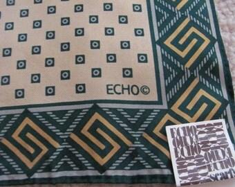 """ECHO Beautiful Small Silk Pocket Scarf  // 11"""" Inch 28cm Square // Unused NWT"""