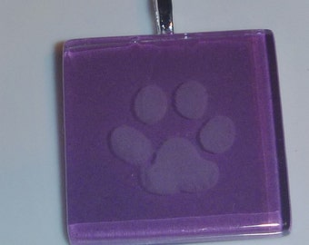 Etched glass purple paw print pendant