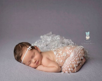 White Lace Wrap and Headband Set, Newborn Photo Prop, Baby Girl Prop, Photography Prop, Fringe Lace Wrap, Baby Wrap, Photo Prop