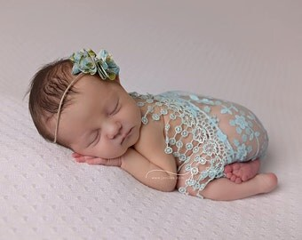 Aqua lace wrap with matching tie back, wrap and headband set, newborn photo prop, baby girl prop, lace wrap, baby headband